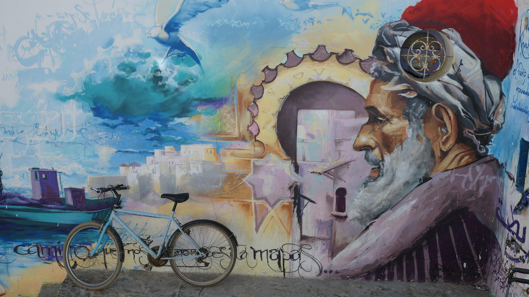 Falfestmény Ibn Khaldúnról a marokkói Asilah városában