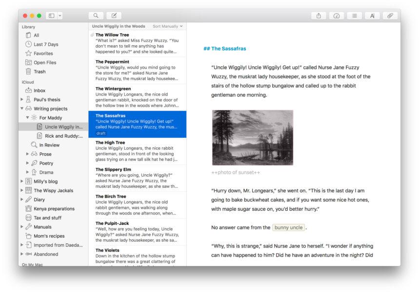 Képernyő kép az Ulysses alkalmazásból